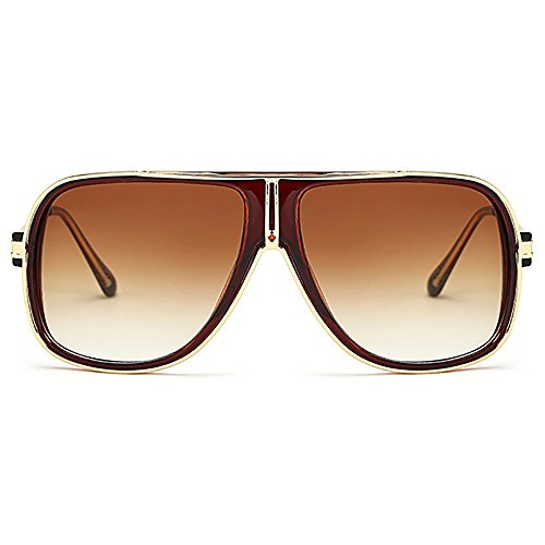de del hombres sol 80s Marrón espejo de clásicas sol aviador gafas los Unisex las de retro de Gafas del 748gx6