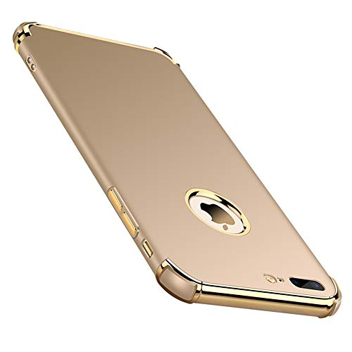 Chengming Compatible with iPhone 7 Plus/iPhone 8 Plus 3 in 1 Anti-Scratch Anti-Fingerprint Shockproof Electroplate Frame Strong Magnetic Adsorption with Non Slip Coated Case(5.5 inch)(Gold) ()