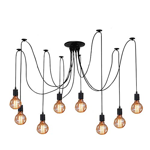 Cable Pendant Assembly - ZHMA Ceiling Spider Lamp Light Pendant Lighting, Antique Classic Adjustable DIY Lighting Chandelier Modern Chic Industrial Dining 8 Arms(Each with 1.7m Wire)