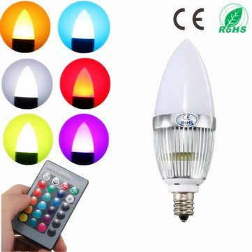 Led Light Bulbs - E12 Candelabra Candle Stick 3w Led Light Bulb White Warm Rgb Tea Landle Lamp 85-265v - E12 Rgb Led Bulb - 1PCs (Jefferson 9 Light Chandelier)