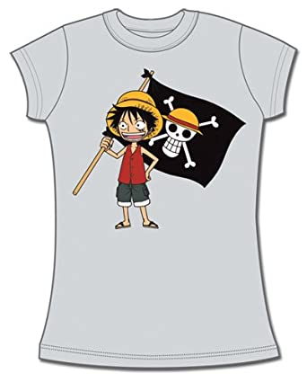 5757b7c9 Amazon.com: One Piece Luffy And Flag Jrs T-Shirt | S: Clothing