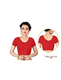 CRAZYBACHAT Indian Ethnic Stretchable Cotton Lycra Beige Tops Readymade Blouses