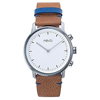 Nevo Balade Parisienne Urban Minimalist Analog Smart Watch with Stainless Steel Case, Genuine Leather Strap, Activity Tracker, Step Counter, Sleep Monitor, and Mobile App (Android & iOS)
