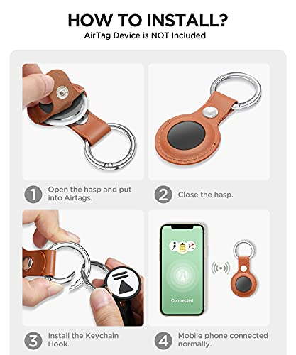 Uneedity AirTag Case Genuine Leather, Protective AirTags Case Cover with Anti-Lost Keychain, [Scratch Resistant] AirTag Cases for Apple Tracker Device Key Finder 2021 1st Generation, Brown