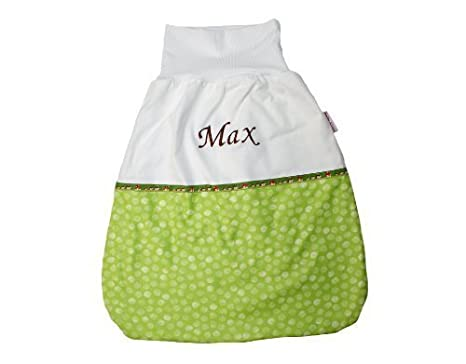 Saco de dormir Saco para bebé de 70 cm puntos verde claro con nombre bordado Stoff: Punkte Hellgrün, Schrift: Dunkelbraun Talla:70 cm: Amazon.es: Bebé