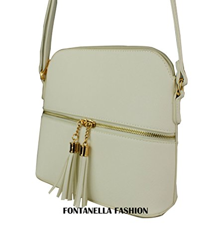 Trendy Faux White Sling Snakeskin White Tassel Women's Zip Leather Handbag Mini REDFOX Crossbody fw46nTxw