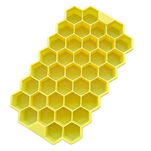 Just_for you - DIY Pops 37 Ice Cubes Honeycomb Ice Cream Maker Silicone Mould/Popsicle Molds Yogurt Ice Box/Freezer Ice Cream Tools (Yellow)