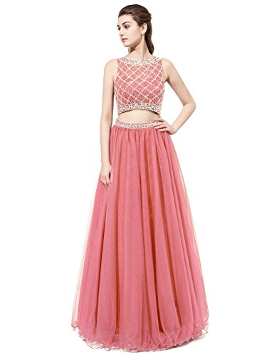 (DRESSTELLS Long Prom Dress 2016 Two Pieces Tulle Evening Gowns with Beads Coral Size 12)