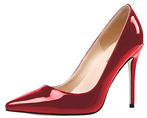 Slip On Crimson Mirror Patent Dress Pumps 15 M US (Red Patent Pumps)