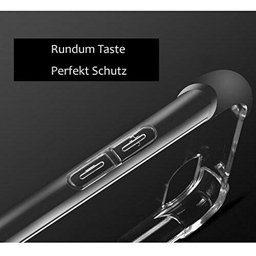 iPhone 6 Plus Kristall Silikon-TPU Weich Hüll + 9H Transparent Gehärtetes Glas + Vier-Ecken Airbag,SUNAVY 3-in-1 Anti-stoß Anti-Kratzer 360-Grad Rundum Schutzhülle für Apple 6plus,5.5zoll
