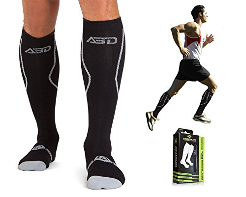 Premium Compression Socks For Recovery Featuring 15-20 mmHg. On Sale Now! Relieve Soreness, Pain & Swelling. Ideal Diabetic, Plantar Fasciitis, Medical, Nurse, Running, Air Travel & Crossfit. (WF MD)