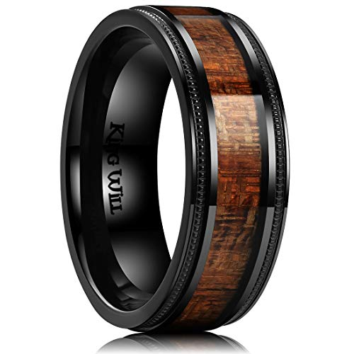 (King Will Nature 8mm Titanium Ring with Wood Inlay Wedding Band Ring Real Comfort Fit 12)