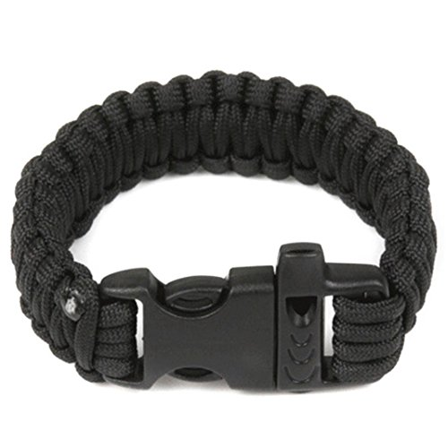 DENER Outdoor Self-rescue Parachute Cord Bracelets Whistle Buckle Survival Camping (Black Cord Bracelet)