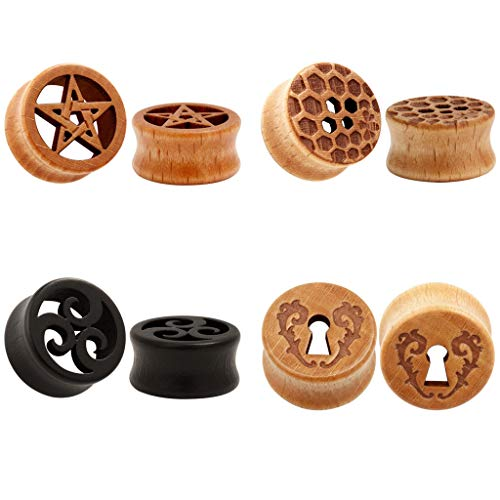 TBOSEN 8PCS Large Double Flared Organic Wood Carved Saddle Plugs Flesh Tunnels Tribal Triangle Swirl Inlay Ear Tapers Piercings Set