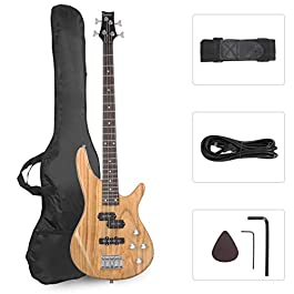 GLARRY Bass Guitar Full Size 4 String Exquisite Stylish Bass with Power Line and Wrench Tool (Natural Wood)