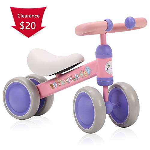 Girls Christmas Island - BLUE ISLAND Baby Balance Bikes Scooter Toddler Walker Infant Scooter No Foot Pedal Driving Bike Gift for Child Four Wheels (Pink)