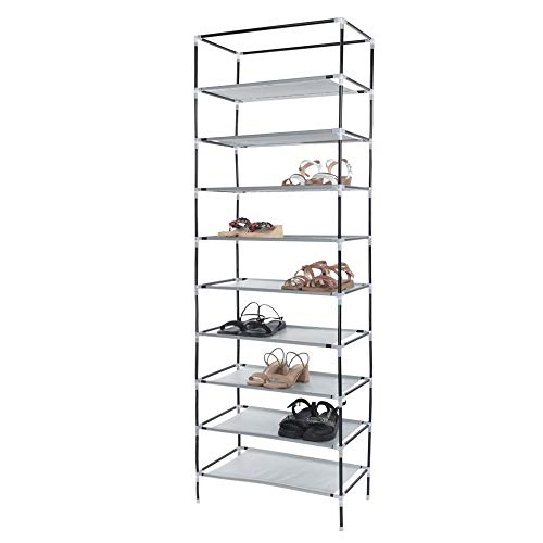 Fine10-Tier Shoe Rack Storage Organizer with Dustproof Non-Woven Fabric Cover,Portable Non-Woven Fabric Shoe Rack Shelves for Room (Brown)