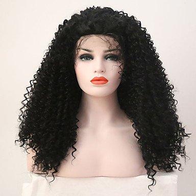Peluca de mujer de encaje sintético frontal largo negro natural peluca disfraz