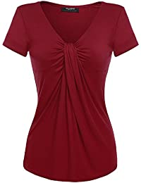 Women V Neck Twist Knot Front Casual Blouse Top