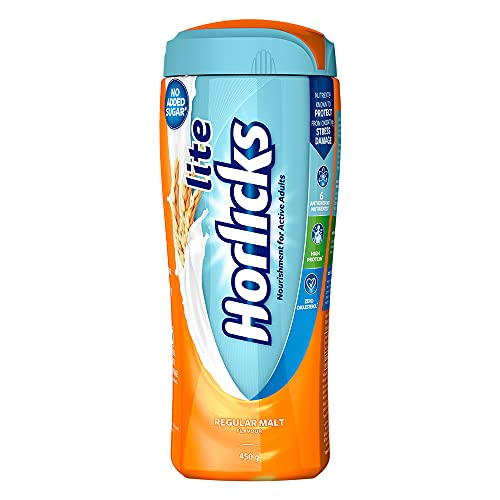 Horlicks Lite Health & Nutrition Drink For Adults 450 g Jar, High Protein & Nutrients For Immunity – No Added Sugar…