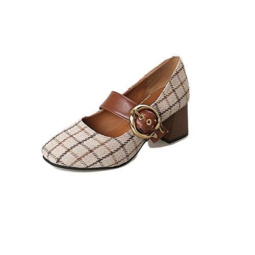 de Printemps Talon Kaki UK4 Comfort Noir Occasionnels DIMAOL Femmes Chaussures CN36 Kaki Heels Rond US6 Bout EU36 Tissu 4pSfwEwn