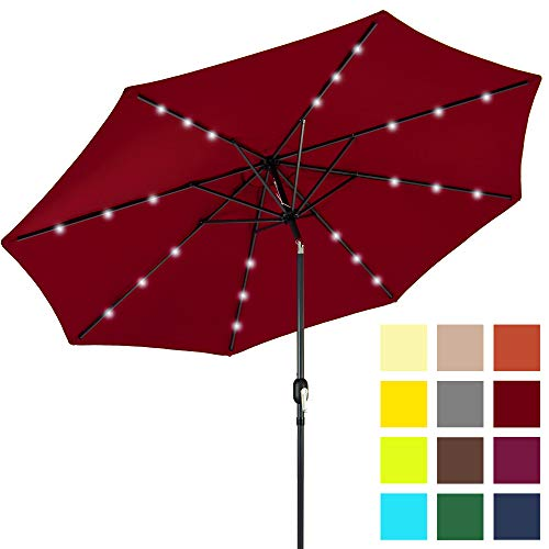 Best Choice Products 10ft Solar LED Lighted Patio Umbrella w/Tilt Adjustment, Fade-Resistant Fabric - Red (Red Umbrella For Sale)