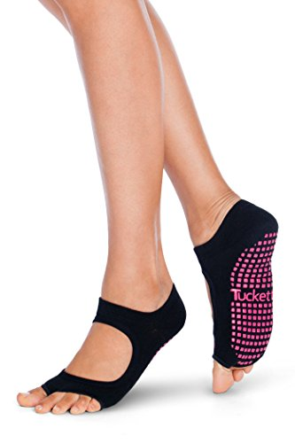 Tucketts Womens Yoga Socks, Toeless Non Slip Skid Grippy Low Cut Socks for Water Aerobics, Aqua Gym, Pilates, Barre, Studio, Bikram, Ballet, Dance - Allegro Style