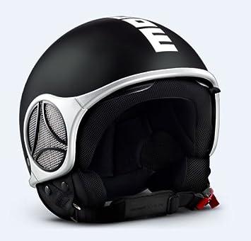 MoMo minimomo Open Face Casco de Moto en Color Negro Mate con Logo Blanco, Hombre