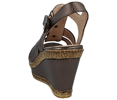 Leather A04 Strappy Summer Lined Bronze 8 Cushion E Size Ladies Walk Peep Fit 3 Wedge Toe Sandal Wide CAqanRXnw
