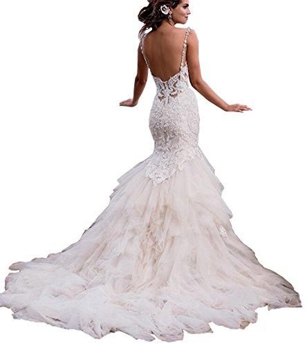 Yangprom New Sexy Mermaid Backless Appliques Chapel Train Wedding Dress (6, White)