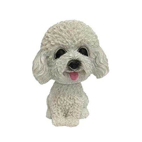Oldeagle Animal Swinging Puppy Dog Animated Bobble Dancer Toy Car Decor Nodding Resin Puppy Dog Auto Decoration (E)