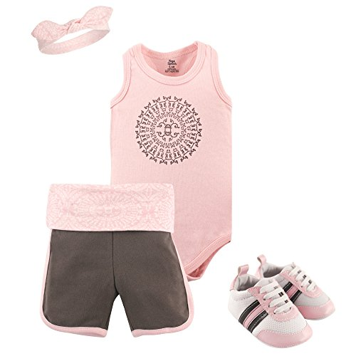 Yoga Sprout Shorts, Bodysuit, Headband and Shoe Set, Scroll, 12-18 Months