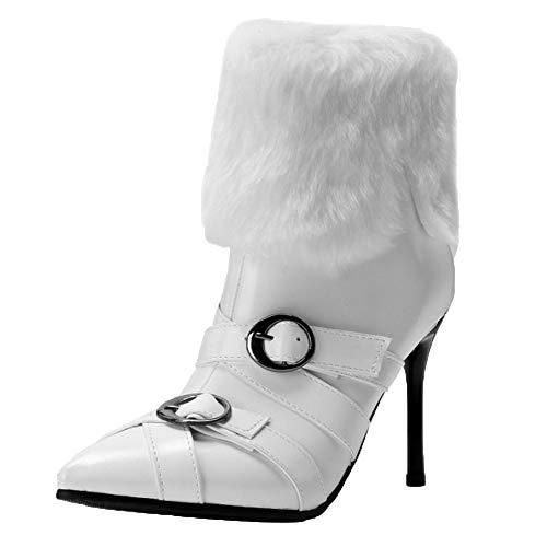 Femmes Blanc Taoffen Bout Bottines Boots Hiver Mode Pointu 7qqROzn