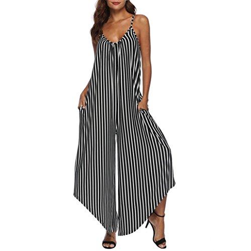 Rambling Stripe Jumpsuit for Women, Loose Wide Legs Strap Camisole Vest Easy Broad Leg Jumpsuit by Rambling