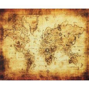 アンティーク風 世界地図 海図 布画 雑貨 インテリア (140X100cm) B00URJNXXU140X100cm