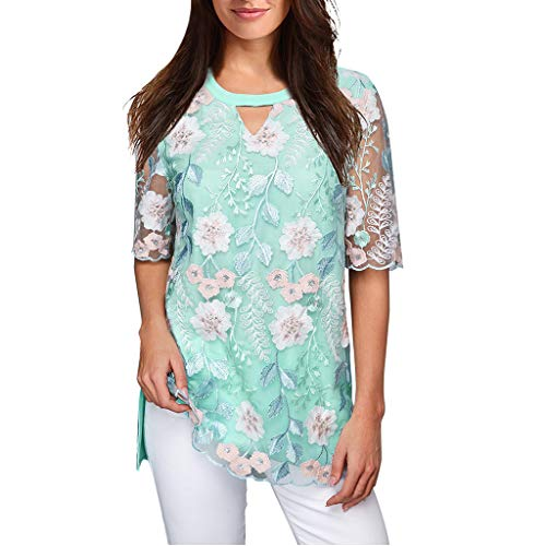 (LEXUPA Women Casual O Neck Shirt Chiffon Embroidered Top Blouse(MintGreen,X-Large))
