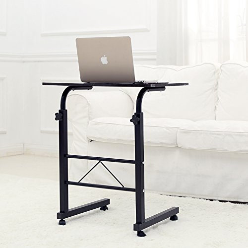 adjustable height metal rolling mobile notebook laptop desk workstation stand dark brown buy. Black Bedroom Furniture Sets. Home Design Ideas