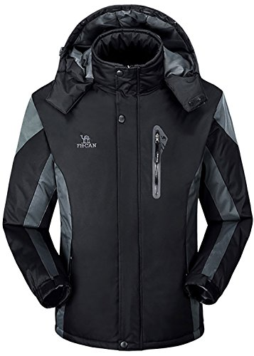 Men's Winter Warm Fleece Lined Ski Coats Outdoor Hooded Waterproof Parka Jacket Black US X-Small / Asian - Us Usps Canada Shipping To From