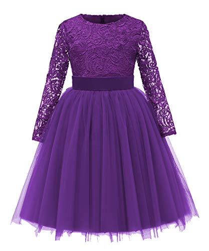 Flower Girl Dress Long Sleeves Lace Top Tulle Skirt Kids First Communion Gowns (Size 12, Plum)
