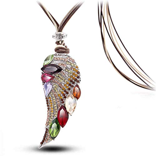 CAIYCAIY 2019 New New Rose Gold Color Crystal Luxury Feather Angel Wings Long Necklaces Pendants Jewelry for ()