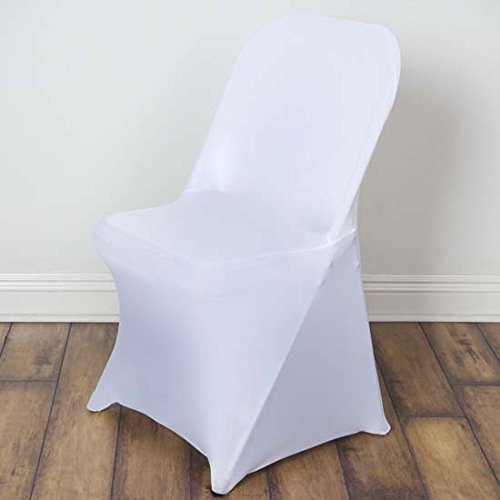 (Efavormart 30 PCS Stretchy Spandex Fitted Folding Chair Cover Dinning Event Slipcover for Wedding Party Banquet Catering - White )