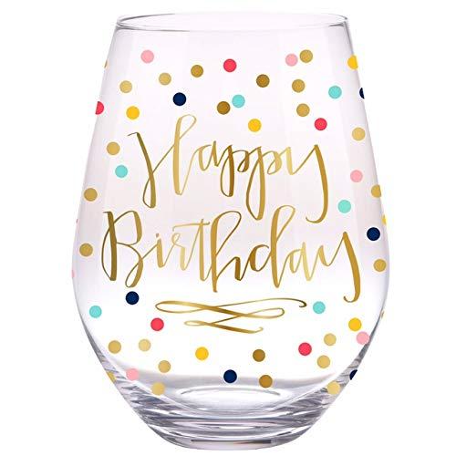 Slant Jumbo Stemless Wine Glass - Happy Birthday