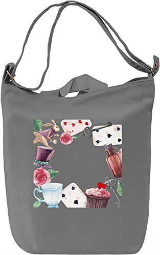 Alice in wonderland Borsa Giornaliera Canvas Canvas Day Bag| 100% Premium Cotton Canvas| DTG Printing|