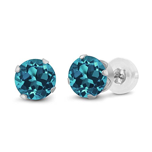 Gem Stone King 14K White Gold Round Cut London Blue Topaz Women's Stud Earrings (1.10 Cttw, -