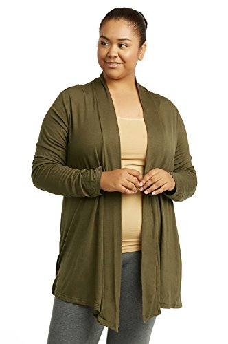 Women's Classic Chic Rayon Fabric Cardigan Sweater for Layering All Season Open Drape Cute Comfortable and Durable Plus Size (XL, Olive)