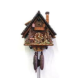 August Schwer Cuckoo Clock Black Forest House, Hunter, Deer