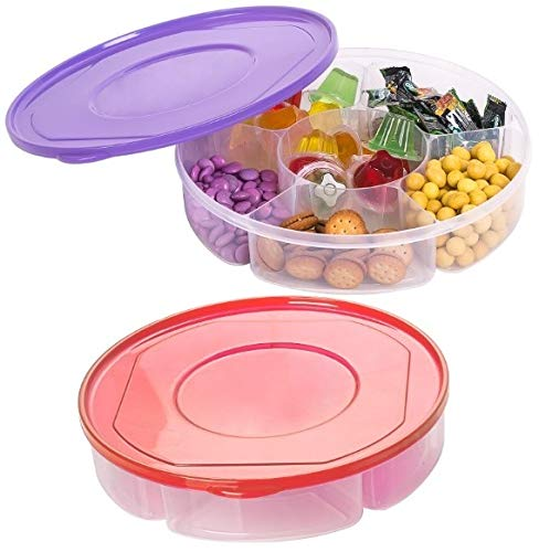 2 Pack - Candy and Nut Serving Container, Appetizer Tray with Lid, 6 Compartment Round Plastic Food Storage Lunch Organizer, Divided Camping Snack Plate, Dish Platter w/Cover, 10-Inch
