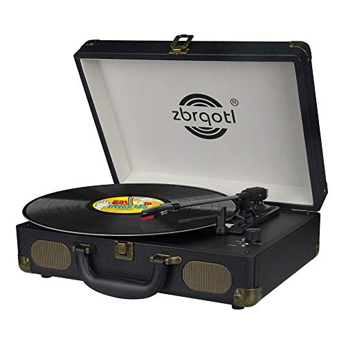 Vinyl Record Player - Vintage Suitcase Turntable 3 Speed for 7〞10〞12〞 LP Bluetooth 2 Stereo Speakers 9V 1.5A DC in Standard RCA Headphone ...