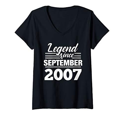 Womens 12th Birthday Gift Legend Since September 2007 V-Neck T-Shirt