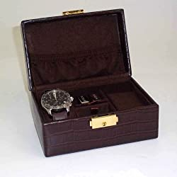Brown Croco Leather Watch & Cufflink Box Case